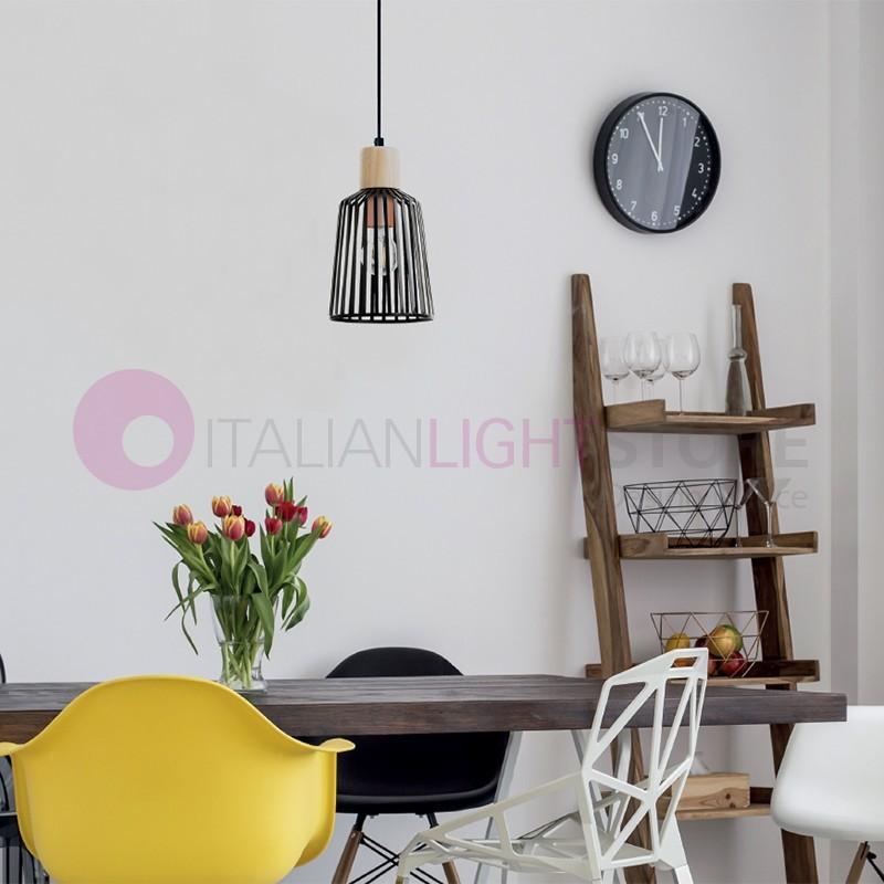 BAGUET Mini Suspension Lamp in Wood Design Modern Vintage