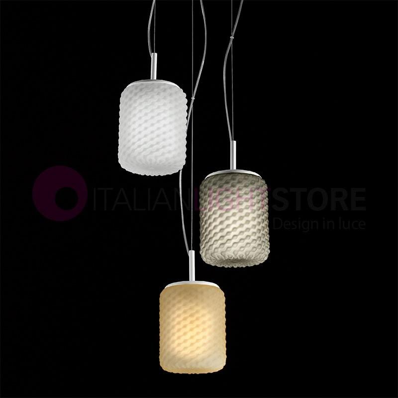 DOMINO Lampada a Sospensione in Vetro a 3 Luci Design Moderno | Selene