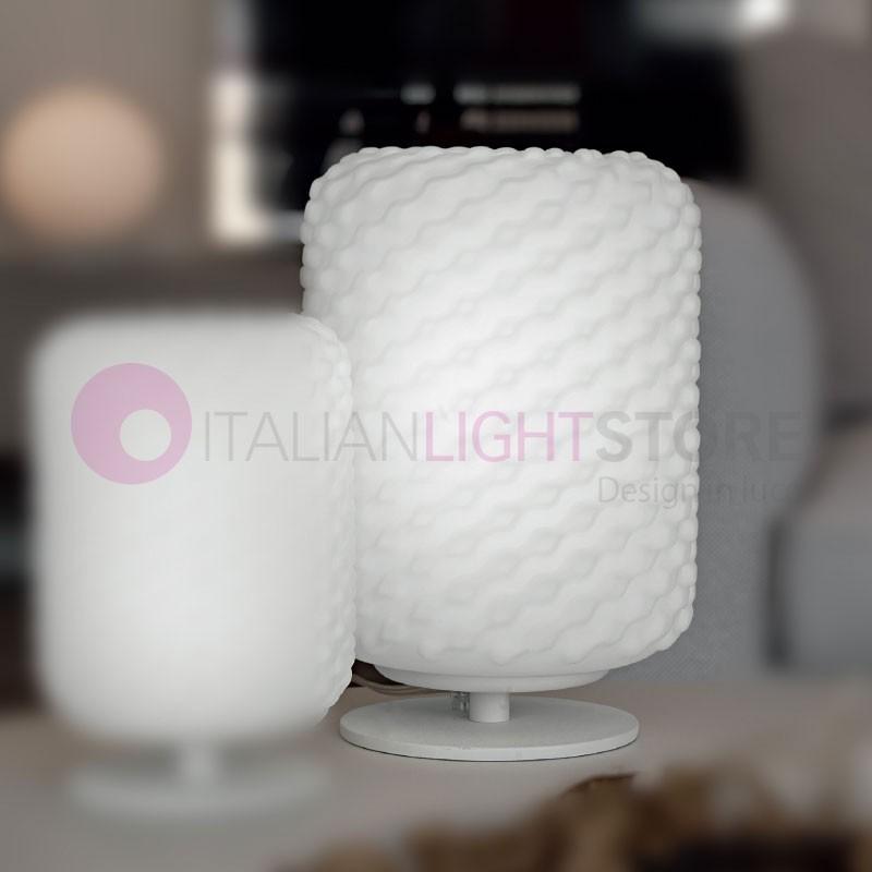 DOMINO Lampada da Tavolo in Vetro Soffiato D.21 Design Moderno