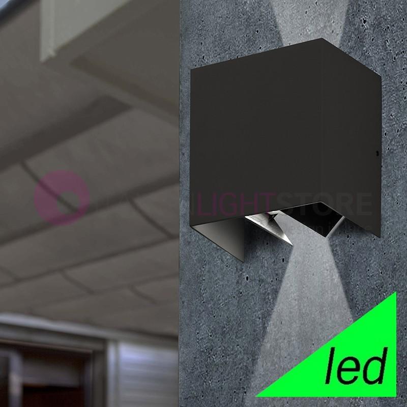 OLAN Lampada a Parete LED Cubetto da Esterno con Alette direzionabili IP54