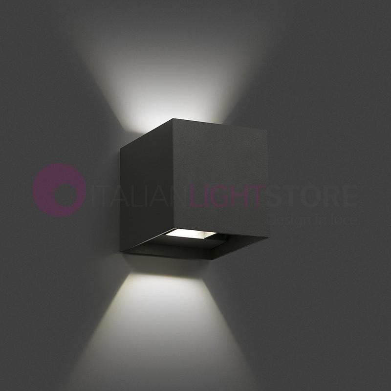 Olan lampada parete led esterno cubetto con alette ip54 faro 70637 - Lampade design parete ...