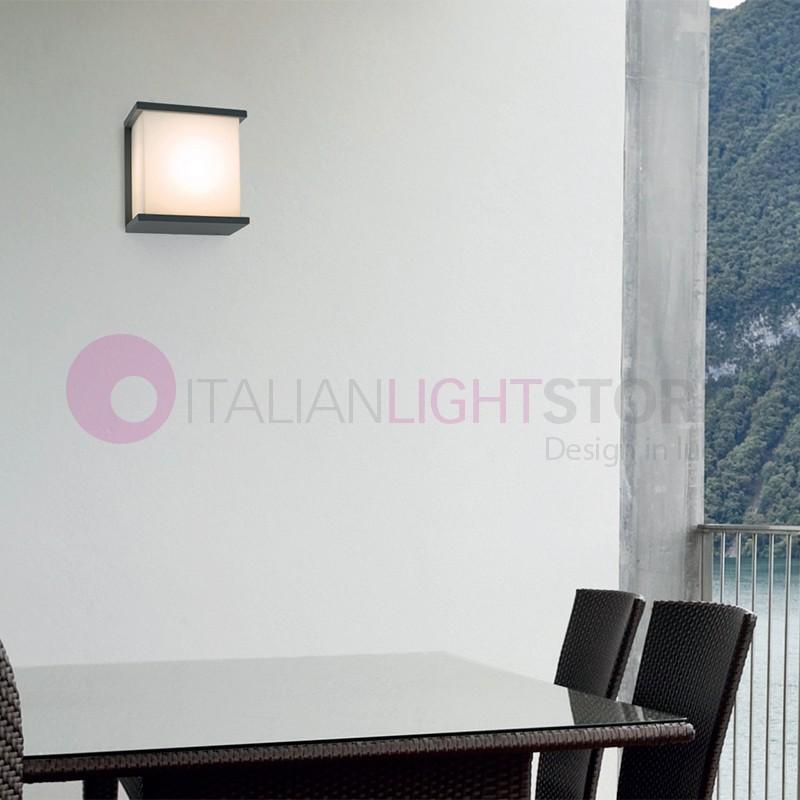 Kubick lampada a parete quadrata da esterno design moderno ip44 faro - Lampada parete design ...