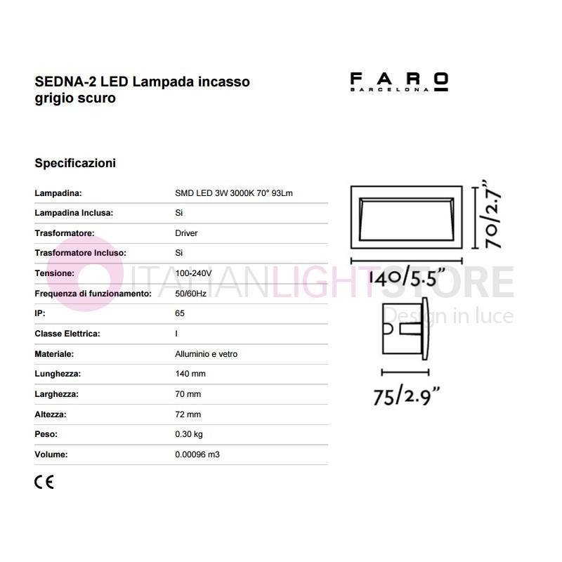 SEDNA II Faretto Segnapasso Lampada da Incasso a LED L.14X7 da Esterno IP65