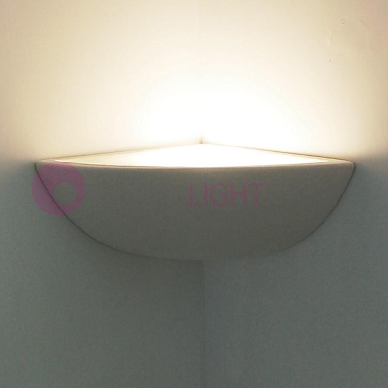 Lampada a parete in gesso per angoli applique angolare - Applique in gesso da parete ...