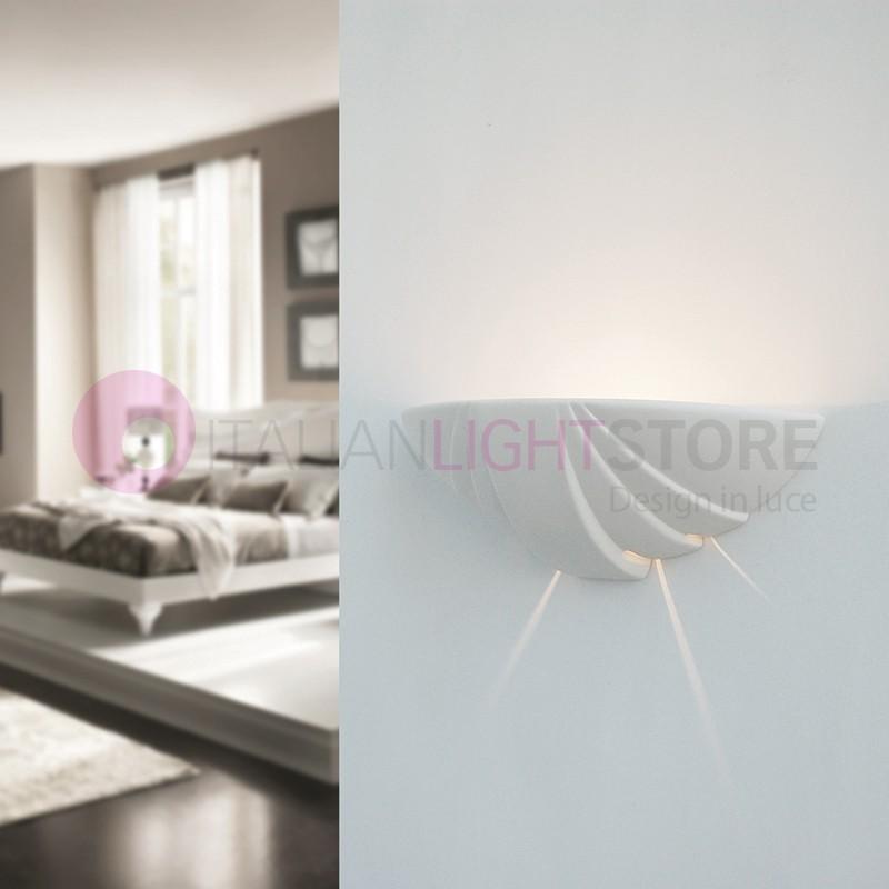 Conchiglia applique lampada ceramica decorabile verniciabile - Applique in gesso da parete ...