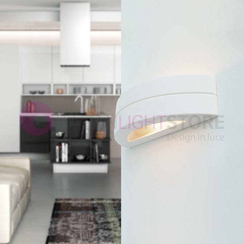 Applique Murale Platre Blanc Demi Lune Ouvert Design Moderne