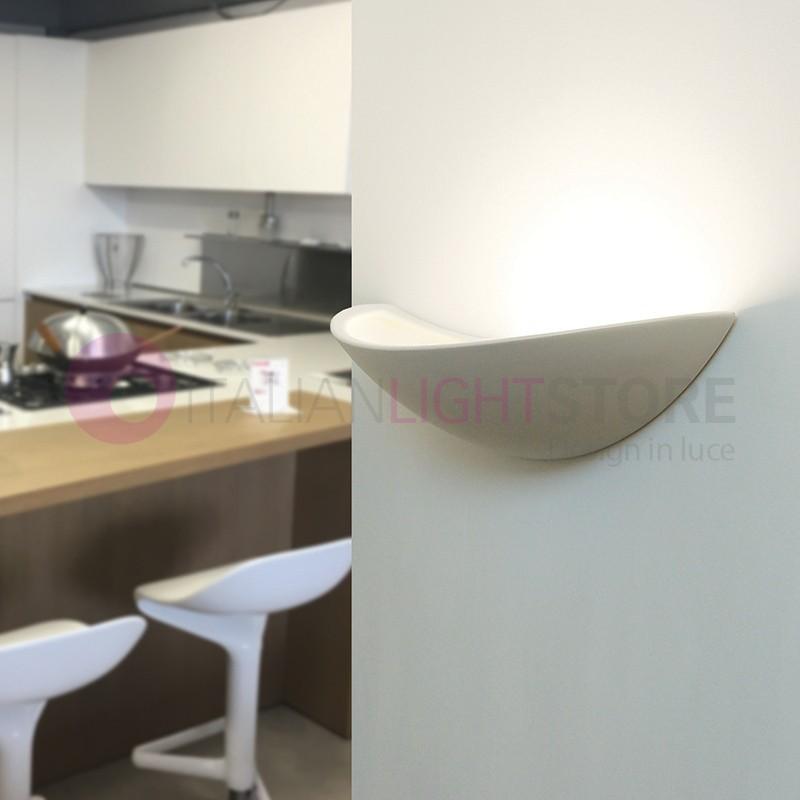 Virgola applique lampada parete ceramica gesso decorabile - Applique in gesso da parete ...