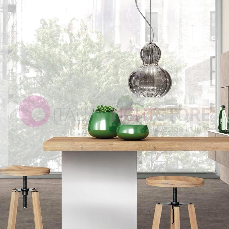 OLIVIA Mini Lampada a Sospensione Vetro Cristallo Soffiato D.17