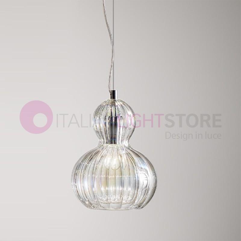OLIVIA Mini Lampada a Sospensione Vetro Cristallo Soffiato D.24
