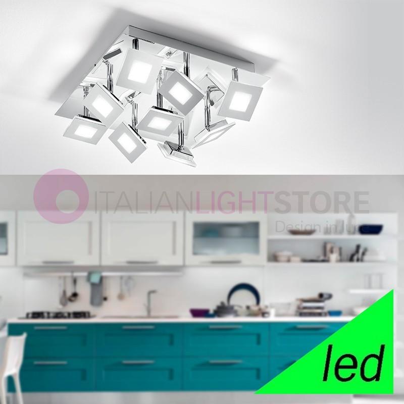 KENDO Plafoniera a Soffitto LED Cromo con moduli orientabili L.35 Design Moderno