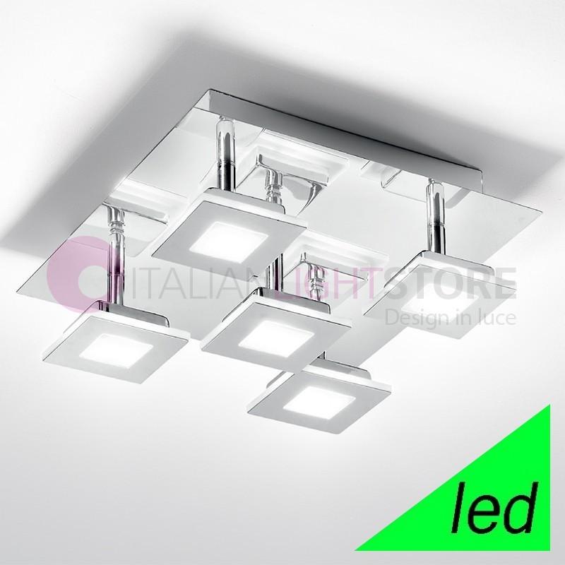 KENDO Plafoniera a Soffitto LED Cromo con moduli orientabili L.28 Design Moderno