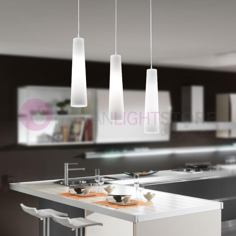 6340 FLUTE Lampada a Sospensione 3 luci Moderna Tavolo Pranzo | Perenz