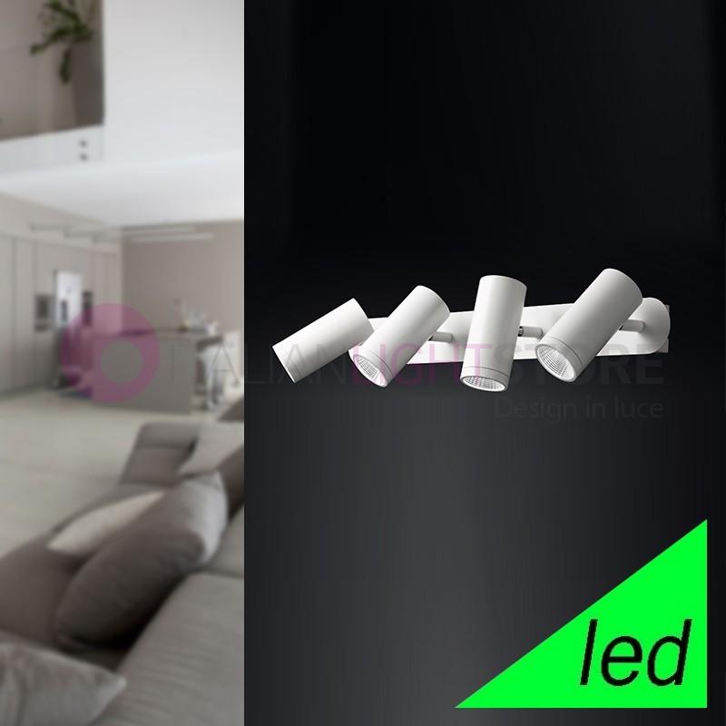 DAB Faretto 4 Luci Orientabili Bianco a LED Design Moderno