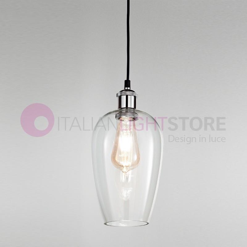 WIND Lampada a Sospensione in Vetro Soffiato Trasparente Stile Vintage