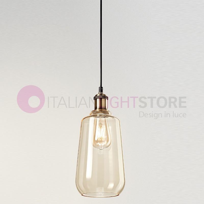 WIND Lampada a Sospensione in Vetro Soffiato Ambra Stile Vintage