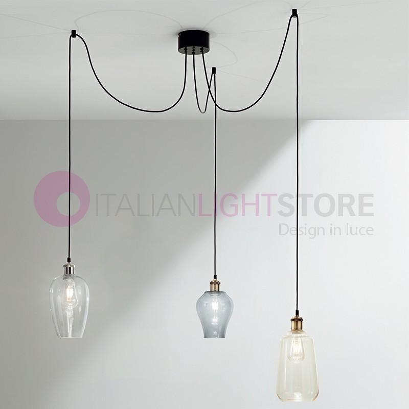 Lampadari A Sospensione Tre Luci.Wind Lampada A Sospensione 3 Luci In Vetro Soffiato Stile Vintage