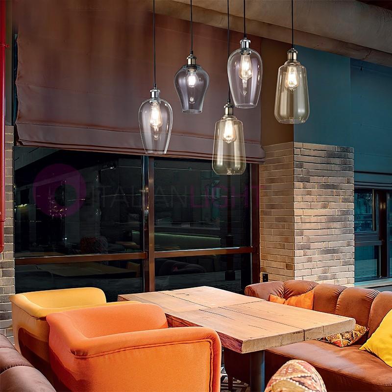 WIND Lampada a Sospensione 5 luci in Vetro Soffiato Stile Vintage