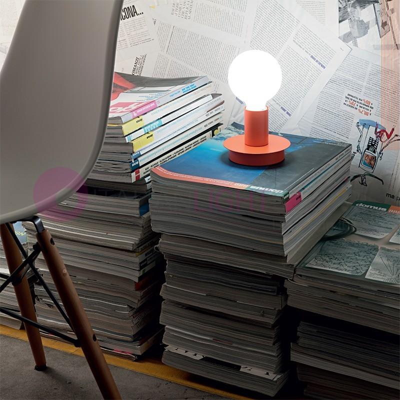 KOLORS Lumetto Lampada da Tavolo Colorata con Lampadina a Vista