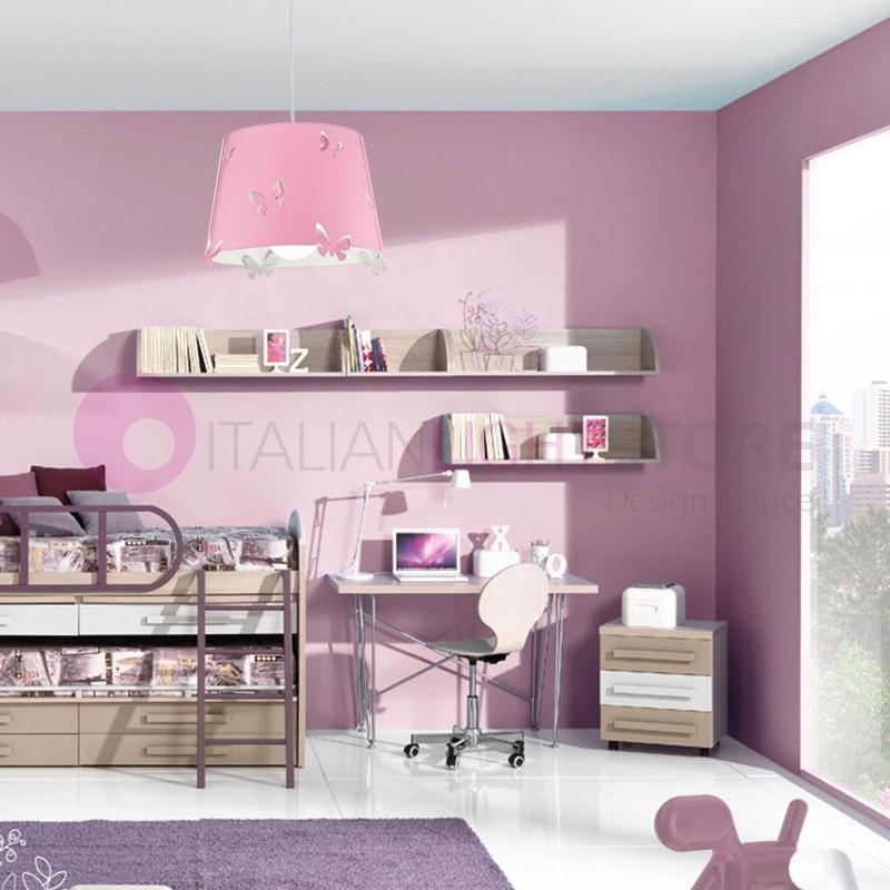 5724 butterfly lampada sospensione rosa per cameretta for Decorazioni cameretta bambina