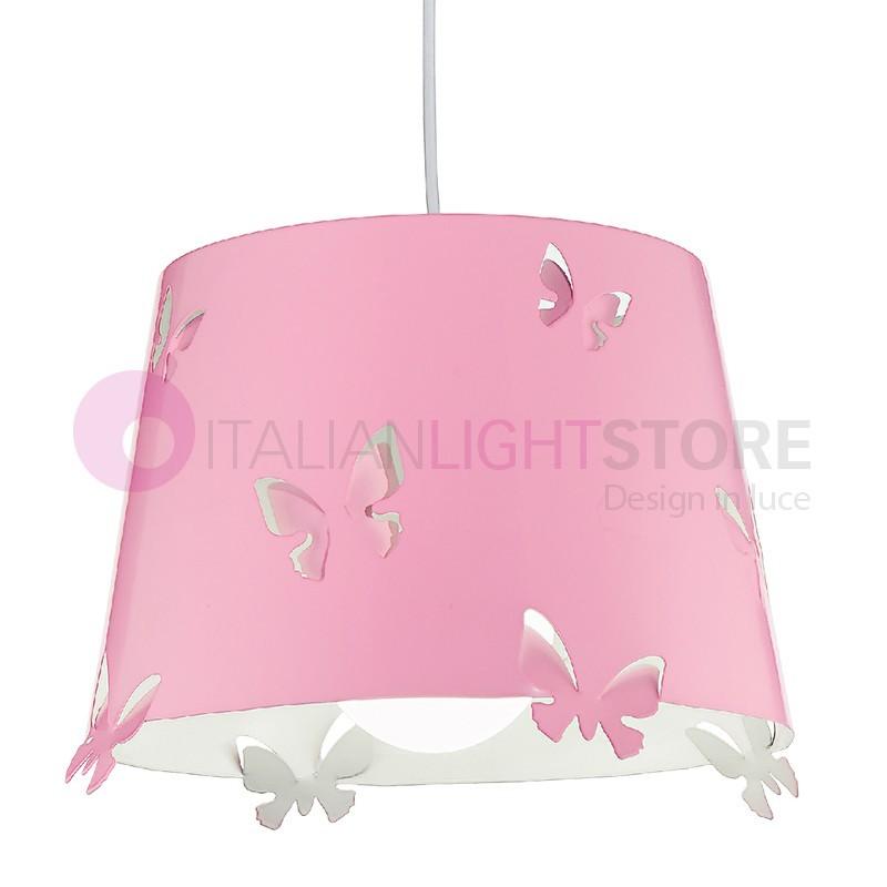 5724 butterfly lampada sospensione rosa per cameretta for Camera bambina