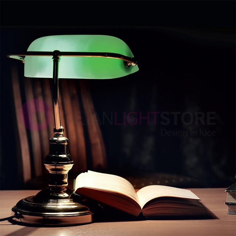 MINISTERIALE Lampada da Scrivania in Ottone Vetro Colorato