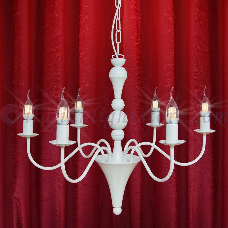 Shabby Lampadario 6 Luci Bianco Stile Provenzale