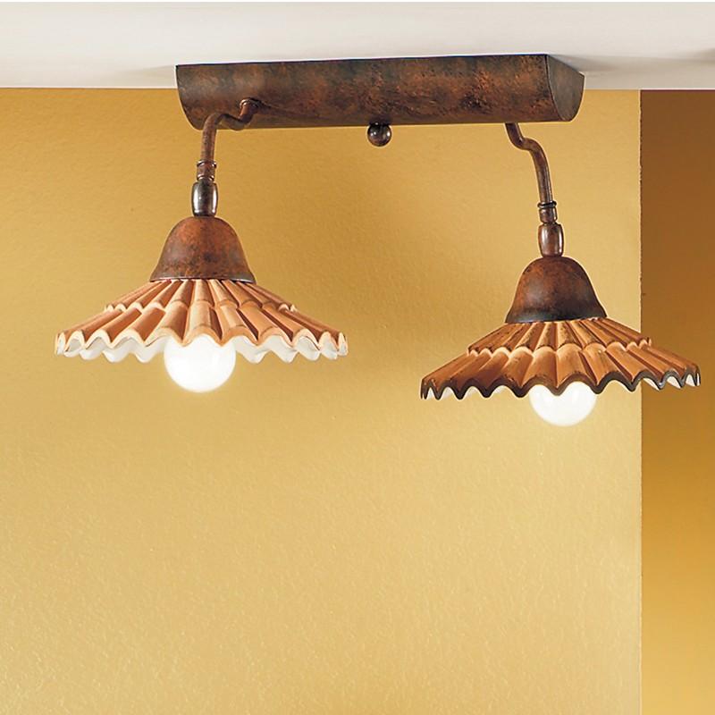 VANIA Lampada a Soffitto 2 Luci in Ceramica Stile Rustico Country