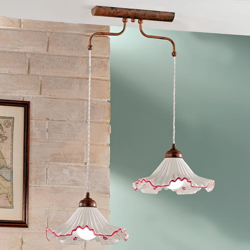 ANNA Sospensione bilancere Ceramica Decorata | Illuminazione Cucine ...