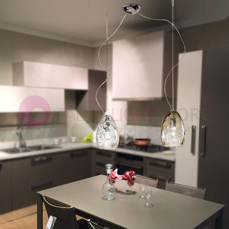 KIARA Lampada a Sospensione  a 2 luci in vetro Soffiato Design Moderno