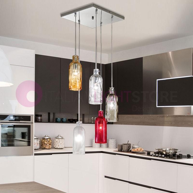 BOTTIGLIA Lampada a Sospensione in Vetro Soffiato 5 Luci Design moderno