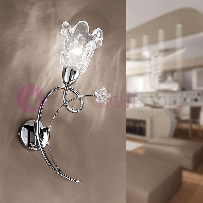 BETTA Applique Lampada a Parete a 1 Luce Cromato Moderno