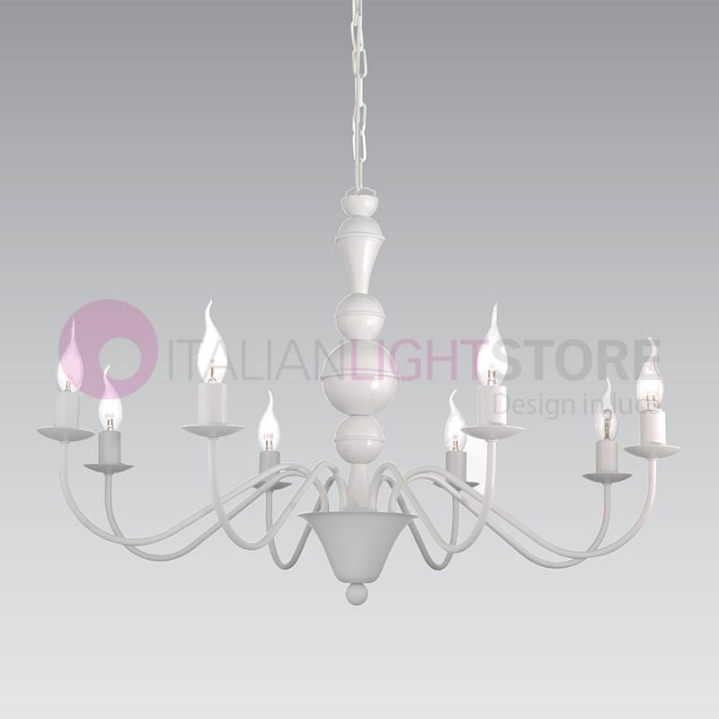 Shabby Lampadario candelabro ferro Bianco 8 Luci provenzale