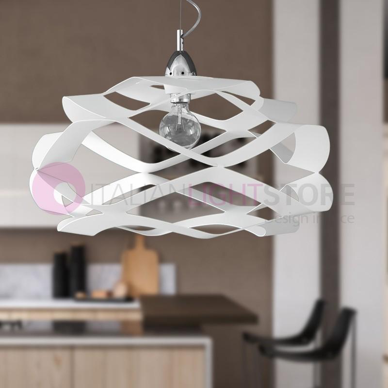 FLY Lampada a Sospensione Bianca Moderna d. 55 cm