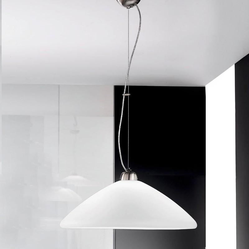 RING Lampada a Sospensione Moderna in Vetro Bianco