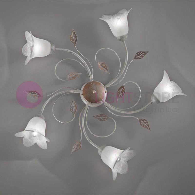 PIENZA light fixture Iron Rustic 5-Light Floral Style