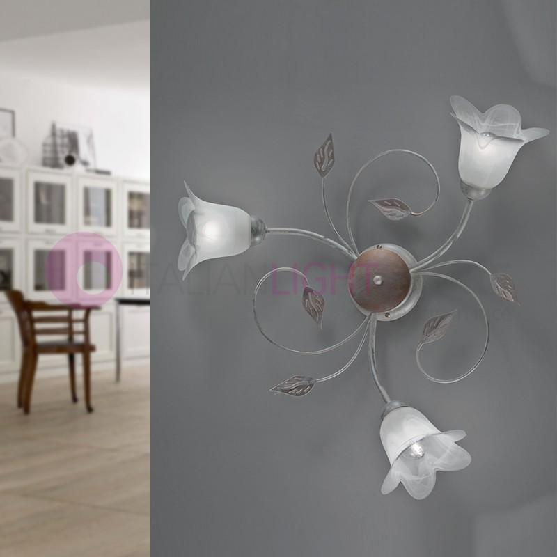 PIENZA light fixture Iron Rustic 3-Light Floral Style