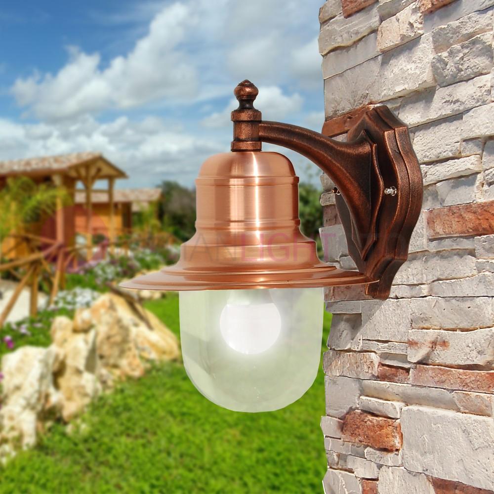 Campiello lampe murale en cuivre naturel classique de l for Lampe exterieur pour jardin