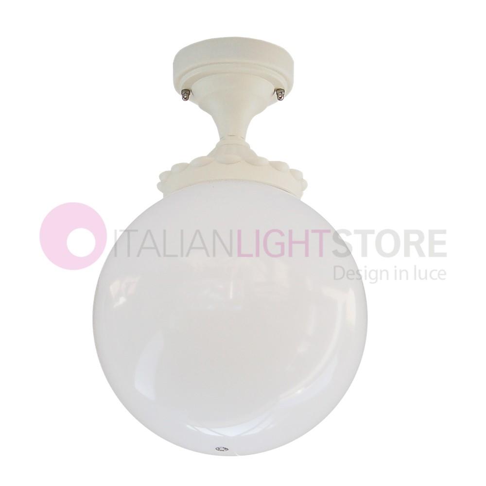 ORIONE BIANCO S25 Lampada a Soffitto da Esterno Giardino Sfera Globo d.25