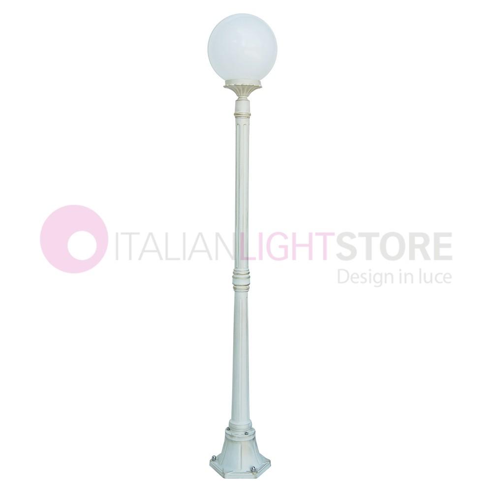 ORIONE BIANCO S25 Lampione Palo Bianco da Esterno Giardino Sfera Globo d.25