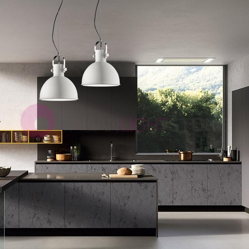 NEPI  Lampada a Sospensione d. 30  Moderna Bianca Design Industriale - OFFERTA