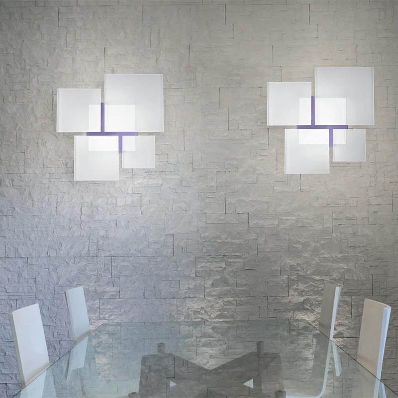 QUADRIFOGLIO Lampada da Parete Soffitto in Vetro Bianco Design Moderno