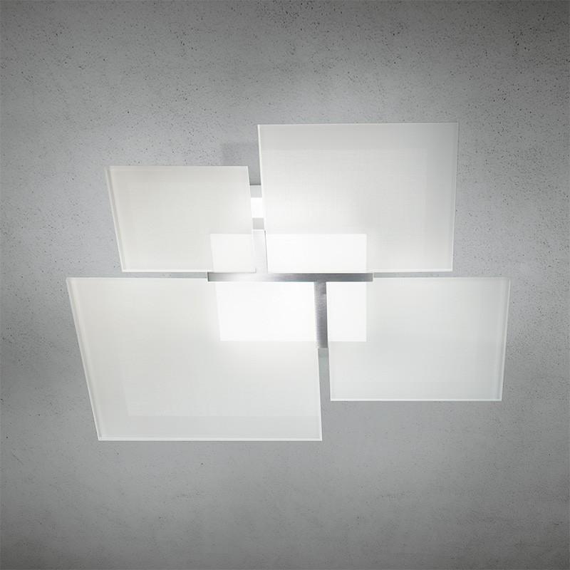QUADRIFOGLIO Plafoniera a Soffitto in Vetro Bianco 61x61 Design Moderno