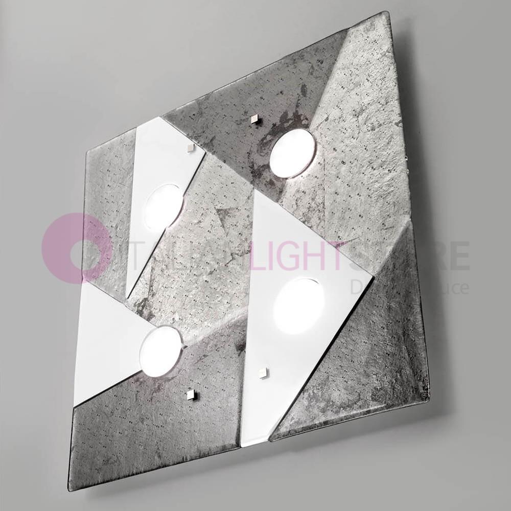 TRIGONO Plafoniera Moderna in Vetro di Murano L. 60x60