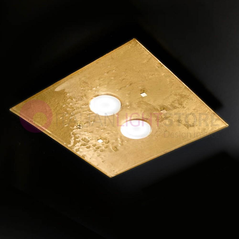 LUCIS Plafoniera Moderna in Vetro di Murano L. 40x40
