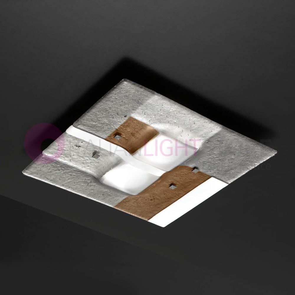 RIALTO Plafoniera Moderna in Vetro di Murano L. 40x40
