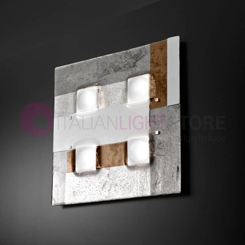 RIALTO Plafoniera Moderna in Vetro di Murano L. 50x50