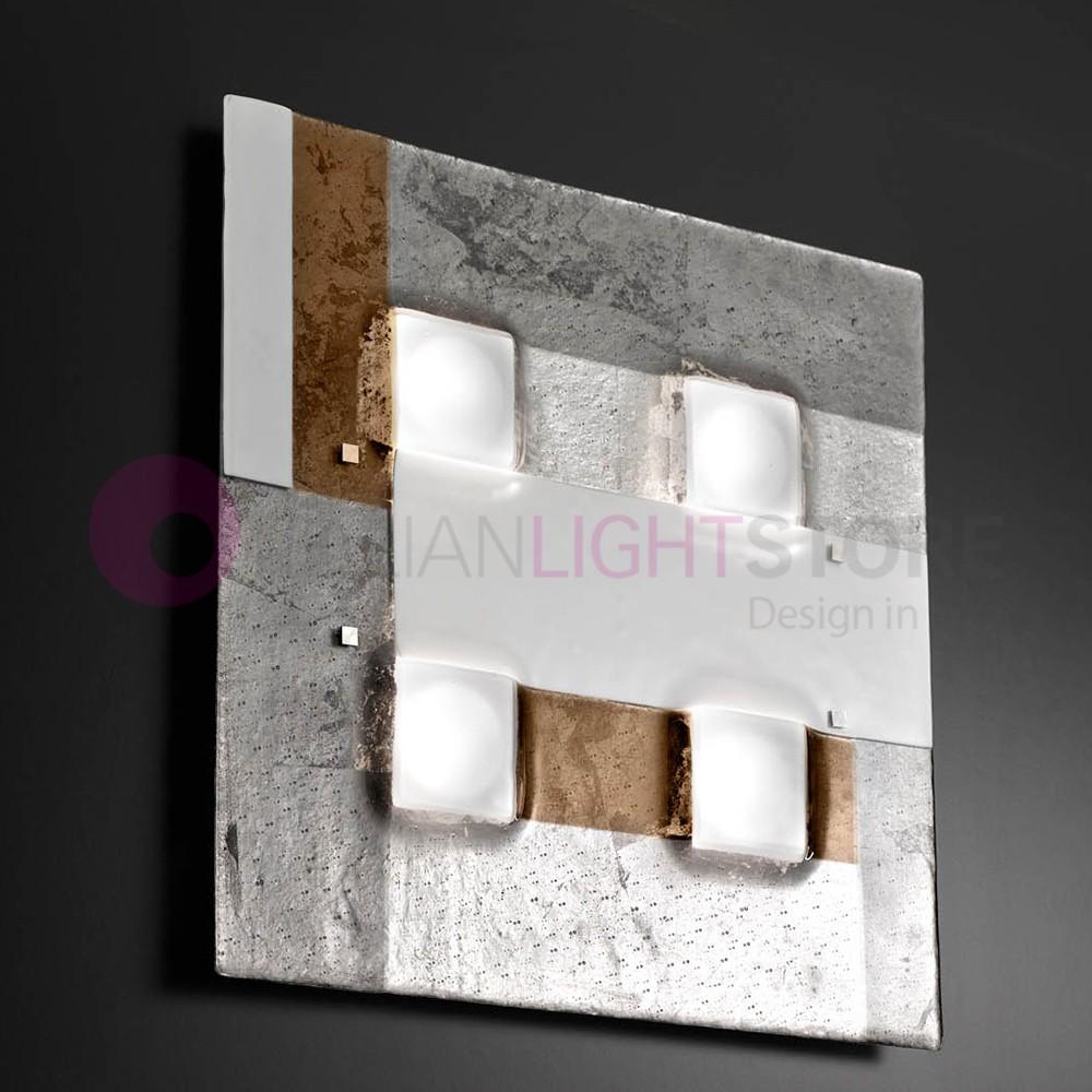 RIALTO Plafoniera Moderna in Vetro di Murano L. 60x60