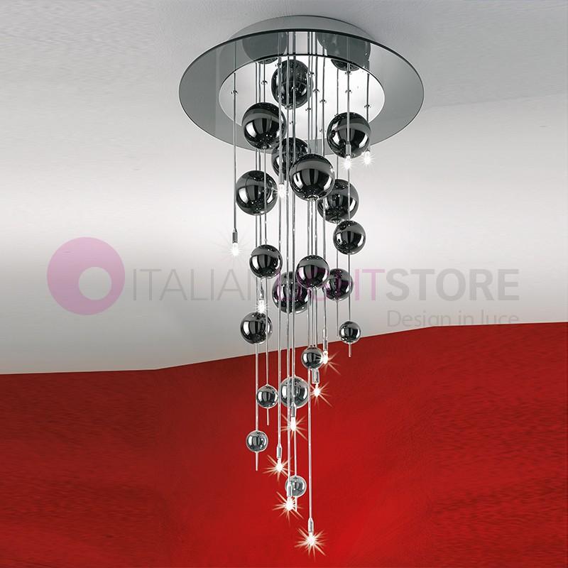 BUBBLES Plafoniera a Soffitto con Sfere in Vetro Soffiato H.90 Design Moderno