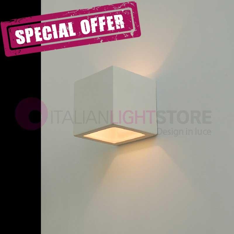 QUADRO Mini Applique Cubetto Design in Ceramica Gesso da Colorare
