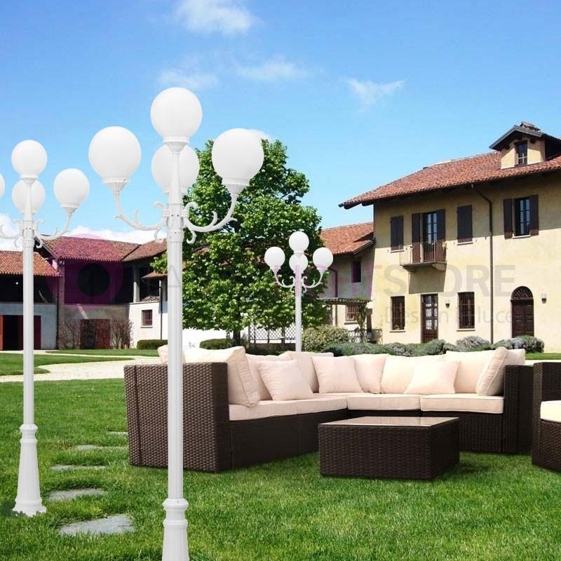 CAPRI Lampione Palo bianco 4 Luci con Globi d.25 Opale Illuminazione Esterno Giardino